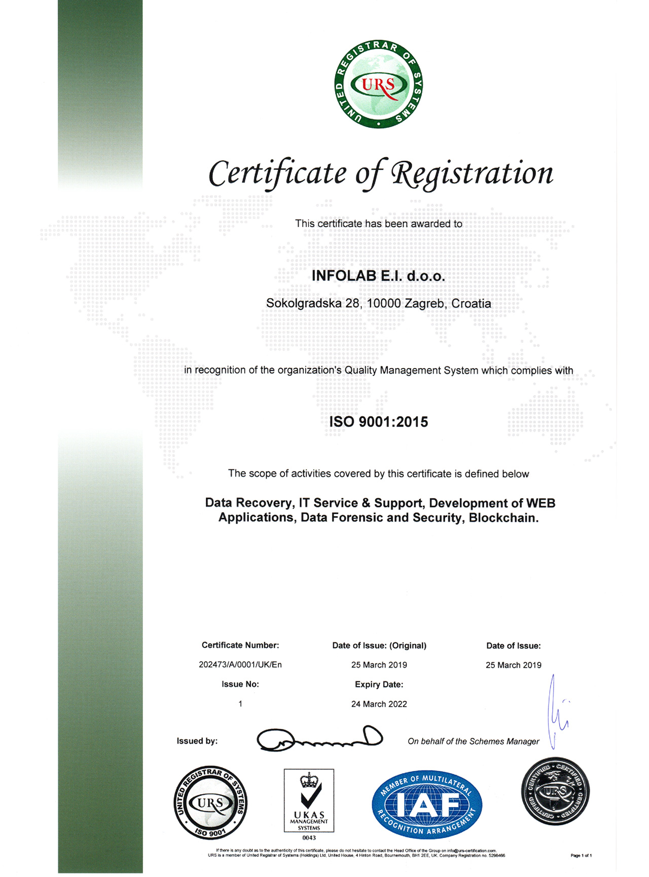 INFOLAB certifikat